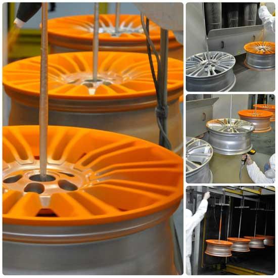 Нанесение порошковой краски может производиться как на весь диск, так и на лицевую часть в отдельности — для внешнего вида колес никакой разницы нет.
