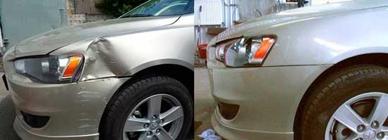 В большинстве случаев рихтовка помогает полностью выправить вмятину металлической детали кузова