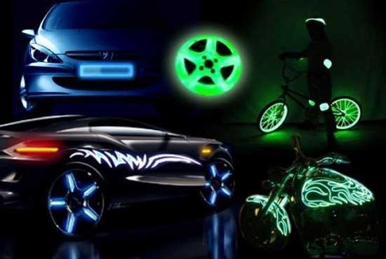 Светонакопительные краски подходят для украшения любого элемента авто, велосипеда, мотоцикла